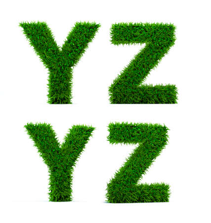 Letter Y, Z of grass alphabet. Grass letter isolated on white background. Symbol with the green lawn texture. 3D Render