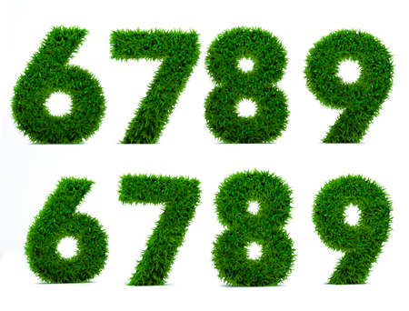 Numbers 6, 7, 8, 9 of grass alphabet. Grass number isolated on white background. Symbol with the green lawn texture. 3D Render