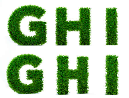 Letter G, H, I of grass alphabet. Grass letter isolated on white background. Symbol with the green lawn texture. 3D Render