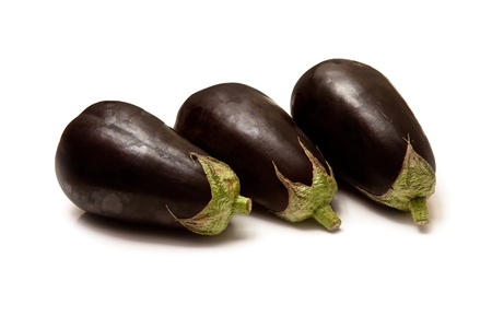 egg plant: Egg plant or aubergines isolated on a white studio background. Stock Photo