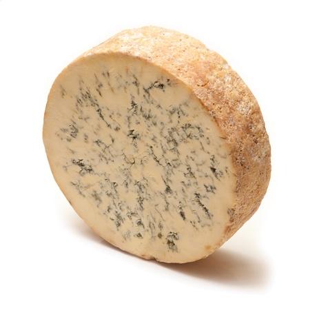Stilton cheese isolated on a white studio background.