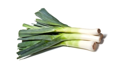 Large Leeks isolated on a white studio background