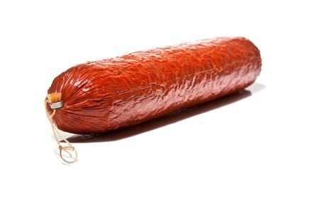 Large Chorizo sausage  isolated on a white studio background  photo