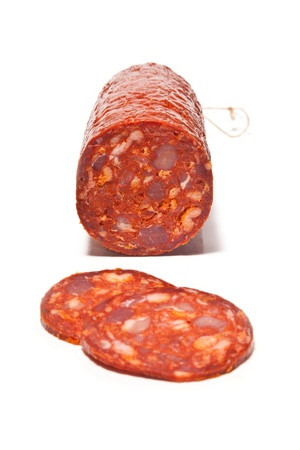 Large Chorizo sausage  isolated on a white studio background