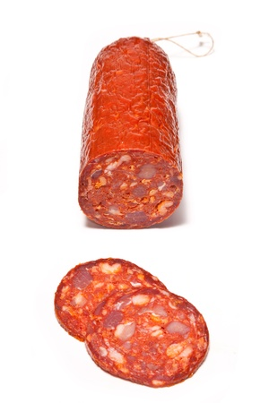 Large Chorizo sausage  isolated on a white studio background  photo