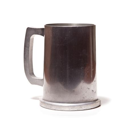 pewter mug: Pewter beer tankard isolated on a white studio background  Stock Photo