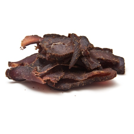 Biltong- beef jerky  isolated on a white studio background