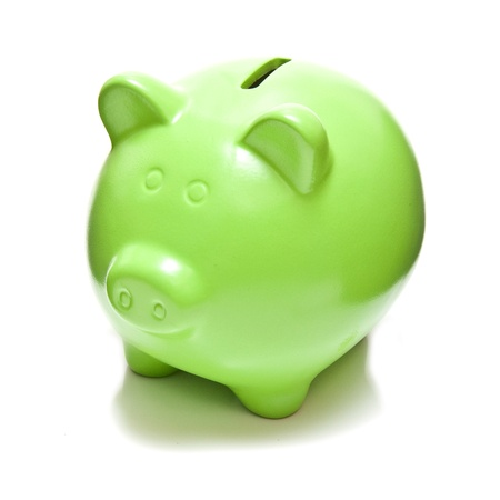 Piggy bank or money box isolated on a white studio background.