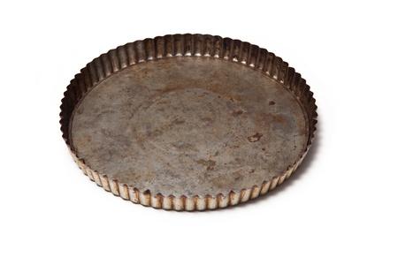 white backing: Metal flan tin isolated on a white background