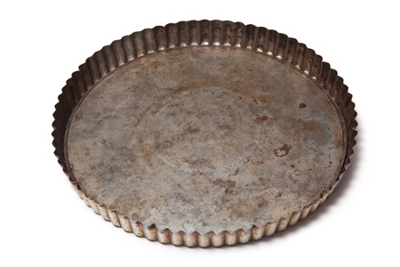 flan: Metal flan tin isolated on a white background