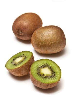Kiwi Fruit isolated on a white studio background. Stock Photo