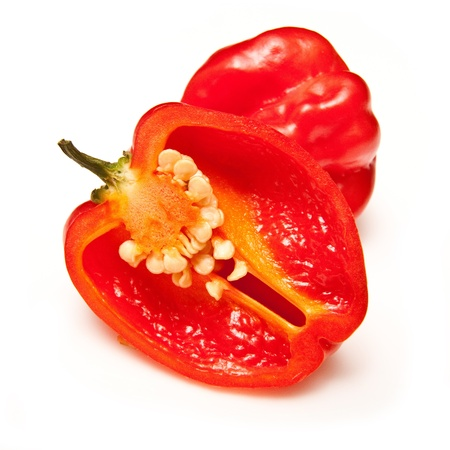 Scotch bonnet chilli pepper isolated on a white studio background.