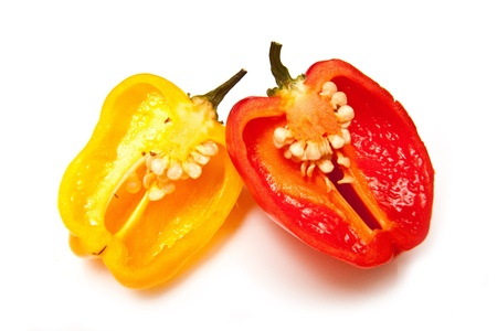 Scotch bonnet chilli pepper isolated on a white studio background.