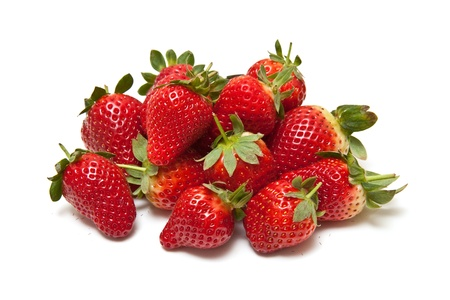 Strawberries isolated on a white studio background.