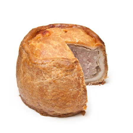 Melton Mowbray pork pie  isolated on a white studio background. Stock Photo - 16538432