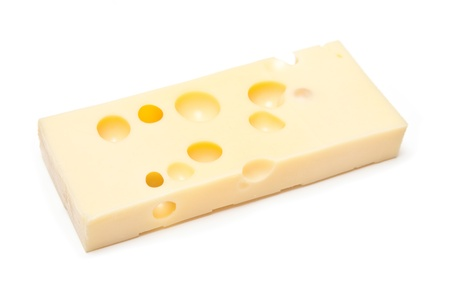 Emmental Swiss cheese isolated on a white studio background. Stock Photo - 16535215