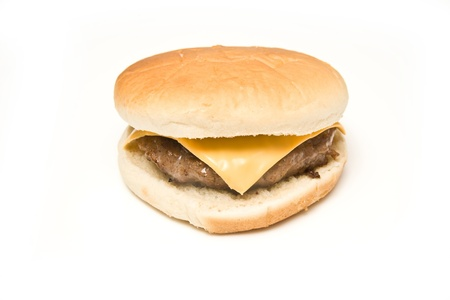 beefburger: Cheeseburger isolated on a white studio background.