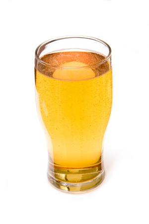 Pint of cider isolated on a white studio background  Stock Photo
