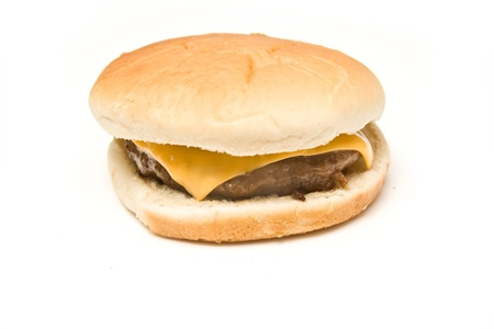 Cheeseburger isolated on a white studio background.