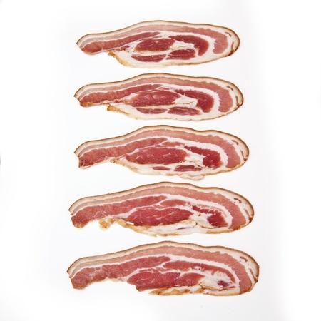 Smoked bacon rashers isolated on white Stock Photo - 16552648