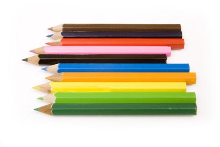 Coloured drawing pencils isolated on a white studio background. Stock Photo - 16537055