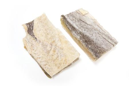 dryed: Salt cod isolated on a white studio background