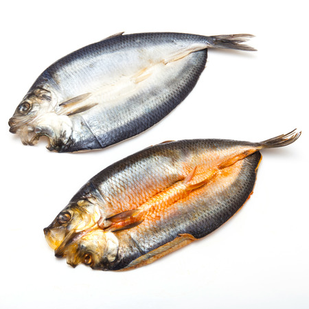 Dyed and non-dyed Scottish smoked kippers isolated on a white studio background. photo