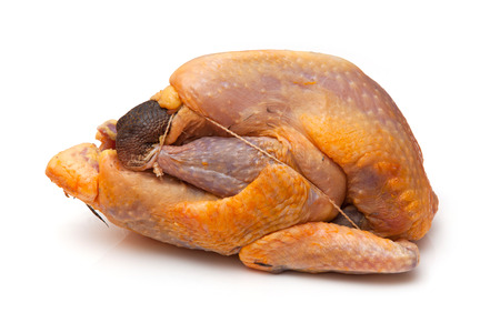 fowl: Guinea fowl uncooked isolated on a white studio background.