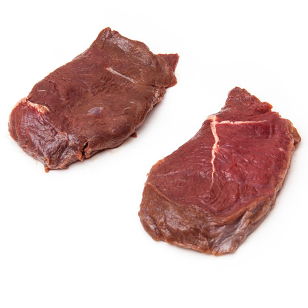 horse meat: Fresh horse meat steak isolated on a white studio background.