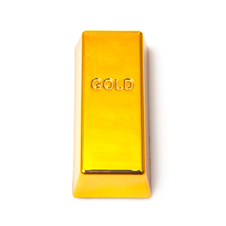 gold ingot: 200 gram gold bar or ingot isolated on a white studio background.