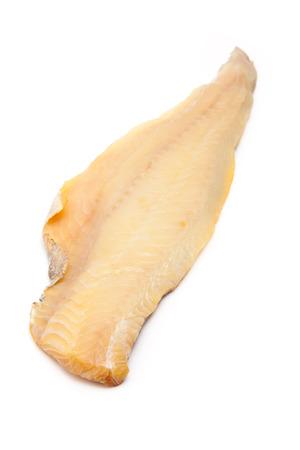 haddock: Smoked Haddock isolated on a white studio background. Stock Photo