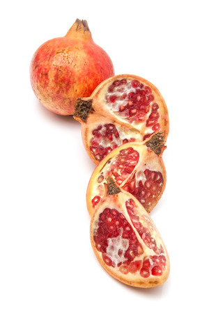 punica granatum: Pomegranate fruit , Punica granatum isolated on a white studio background. Stock Photo