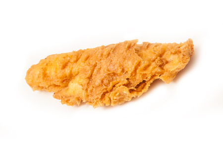 fillet of battered deep fried cod fresh from the fish and chip shop.