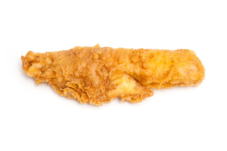 fillet of battered deep fried cod fresh from the fish and chip shop. Stock Photo