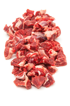 shin: Uncooked organic shin of beef meat isolated on a white studio background, Stock Photo