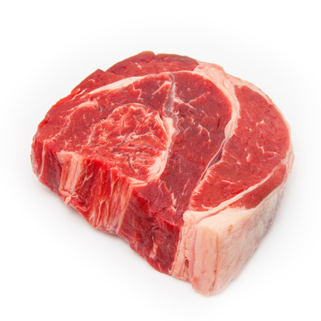Uncooked organic shin of beef meat isolated on a white studio background, Stock Photo