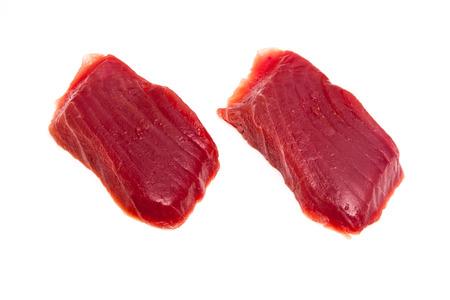 thunnus: Yellowfin tuna fish steaks (thunnus albacares) isolated on a white studio background. Stock Photo