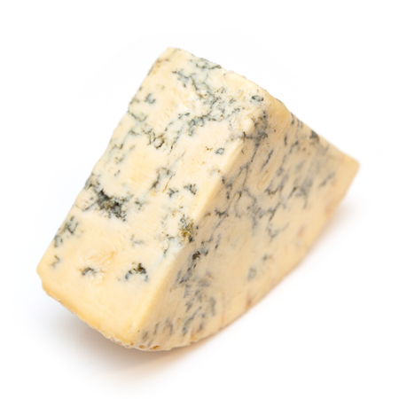 Mature blue stilton cheese isolated on a white studio background. 版權商用圖片