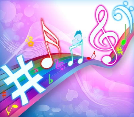 COLOURFUL MUSICAL BACKGROUND Stock Photo - 8438717