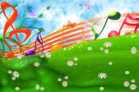 retro music: SUMMER MUSICAL BACKGROUND Stock Photo