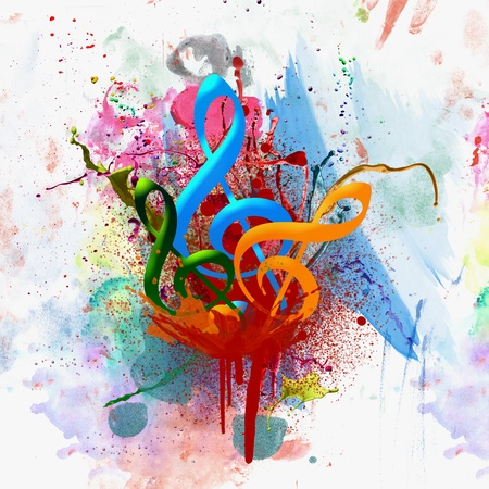 Colorful Musical Watercolor Background Фото со стока
