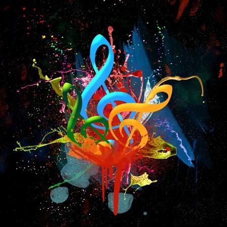 notas musicales: Fondo multicolor de acuarela Musical Foto de archivo