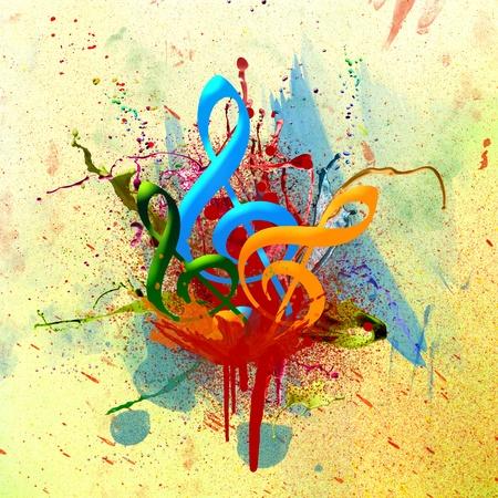note musicale: Colorato sottofondo musicale ad acquerello Archivio Fotografico