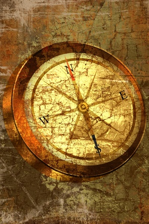 Grunge background with COMPASS
