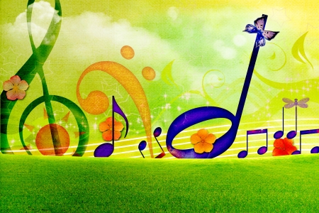 music abstract: SUMMER MUSIC WALLPAPERS Stock Photo