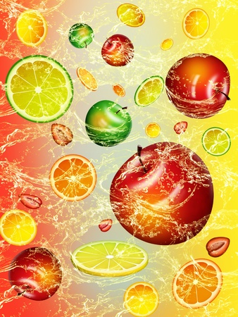 WALLPAPER WITH FRESH FRUIT