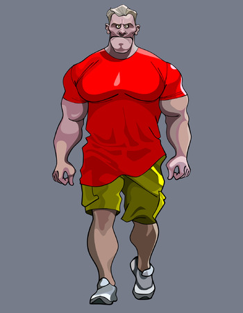 tense: cartoon tense man bodybuilder goes Illustration
