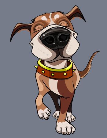 cartoon dog: cartoon happy dog ??wearing a collar walks