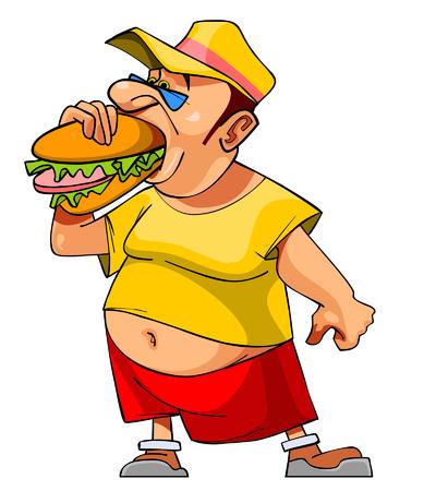 eats: cartoon bellied man eats a hamburger