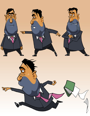 thoughtfulness: cartoon businessman in a suit in different poses Illustration
